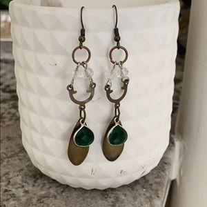 Mixed Metal Emerald Drop Earrings